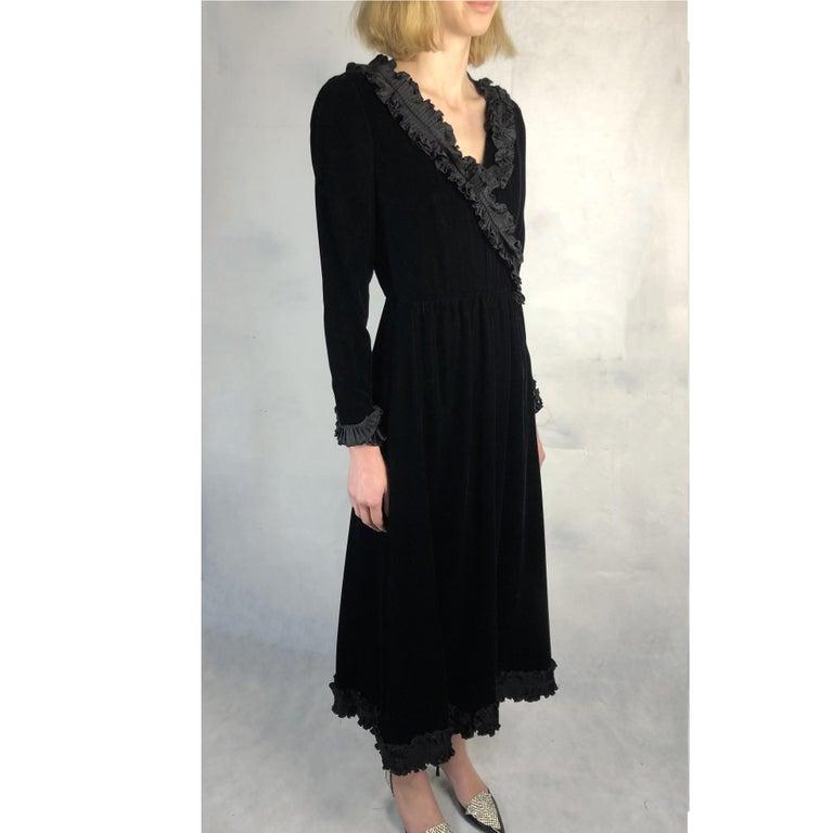 Saint Laurent collectable black iridescent velvet evening dress. Circa 1970s For Sale 4