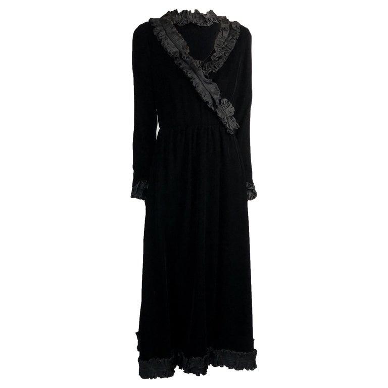 Saint Laurent collectable black iridescent velvet evening dress. Circa 1970s For Sale