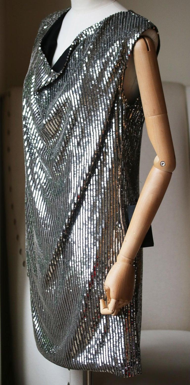 Black Saint Laurent Cowl-Neck Sequin-Embellished Mini Dress For Sale