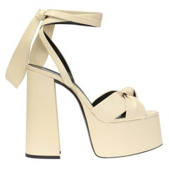 "Saint Laurent Cream Leather ""Paige"" Tie Ankle Strap Platform Sandals Size 37"