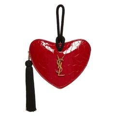 Saint Laurent Croc Embossed Sac Coeur Heart Clutch - Red