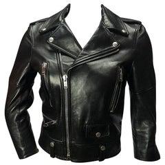 Saint Laurent Cropped Black Leather Moto Jacket