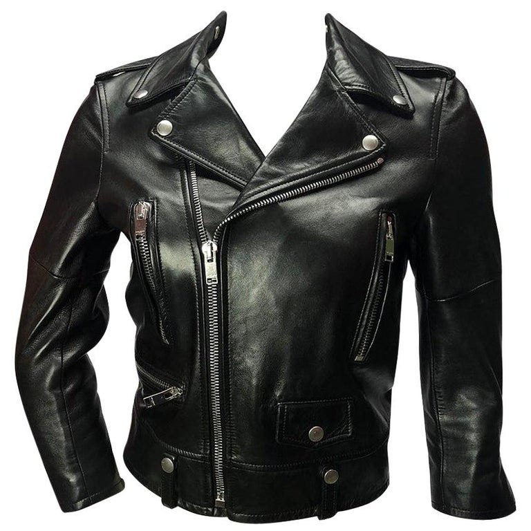 b283cecabb4 Saint Laurent Cropped Black Leather Moto Jacket For Sale at 1stdibs