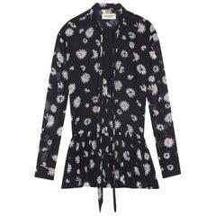 Saint Laurent Daisy-Print Wool Mini Dress
