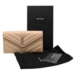 Saint Laurent Dark Beige Chevron Quilted Leather Long Wallet