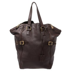 Saint Laurent Dark Brown Leather Large Downtown Tote