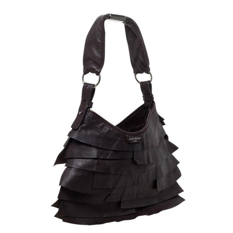 Saint Laurent Dark Brown Leather Small St. Tropez Hobo In Good Condition For Sale In Dubai, Al Qouz 2