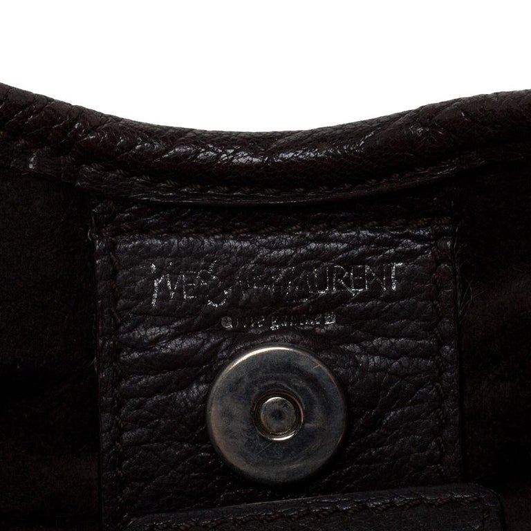 Saint Laurent Dark Brown Leather Small St. Tropez Hobo For Sale 4