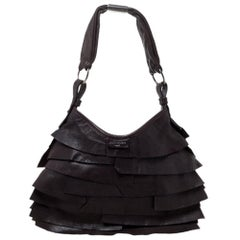 Saint Laurent Dark Brown Leather Small St. Tropez Hobo