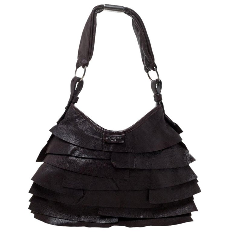Saint Laurent Dark Brown Leather Small St. Tropez Hobo For Sale