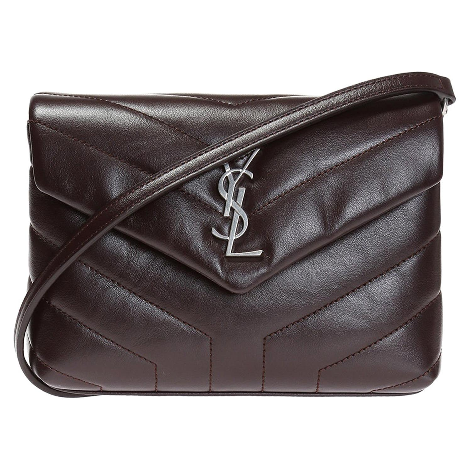Saint Laurent Dark Brown / Plum Leather Loulou Toy Strap Shoulder Bag