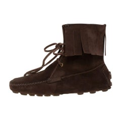 Saint Laurent Dark Brown Suede Fringe Lace Ankle Boots Size 40.5