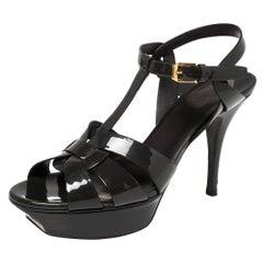 Saint Laurent Dark Grey Patent Leather Platform Ankle Strap Sandals Size 38