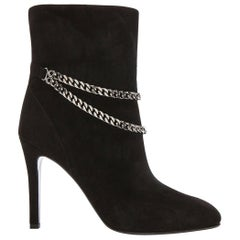 Saint Laurent Debbie 100 Double-Chain Suede Ankle Boots