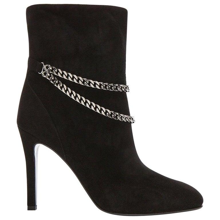 Saint Laurent Debbie 100 Double-Chain Suede Ankle Boots For Sale