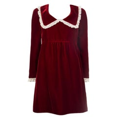 SAINT LAURENT deep red LACE TRIMMED VELVET Long Sleeve Dress 38