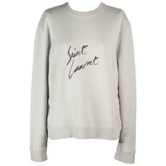 Saint Laurent Distressed Printed Cotton Jersey Sweatshirt