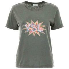 Saint Laurent Distressed Printed Cotton Jersey T-Shirt