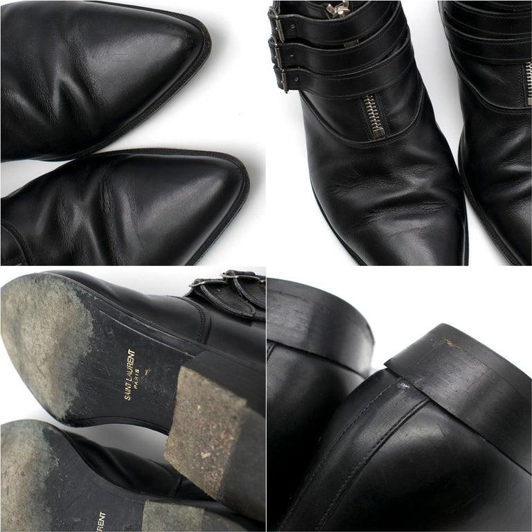 Black Saint Laurent Duckies 30 Triple Buckle Ankle Boot SIZE 42 For Sale