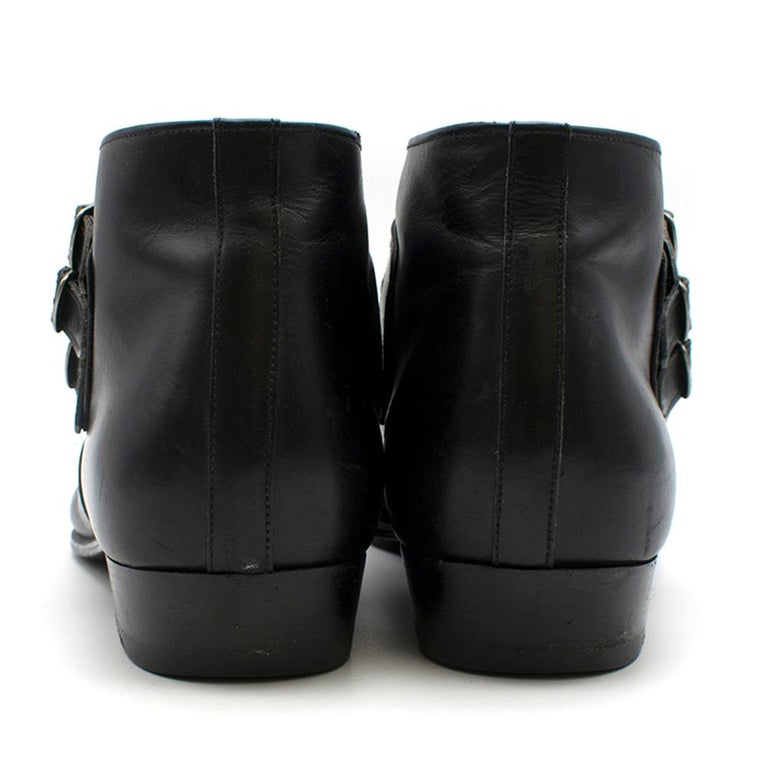 Women's or Men's Saint Laurent Duckies 30 Triple Buckle Ankle Boot SIZE 42 For Sale