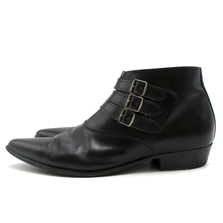 Saint Laurent Duckies 30 Triple Buckle Ankle Boot SIZE 42 For Sale 1