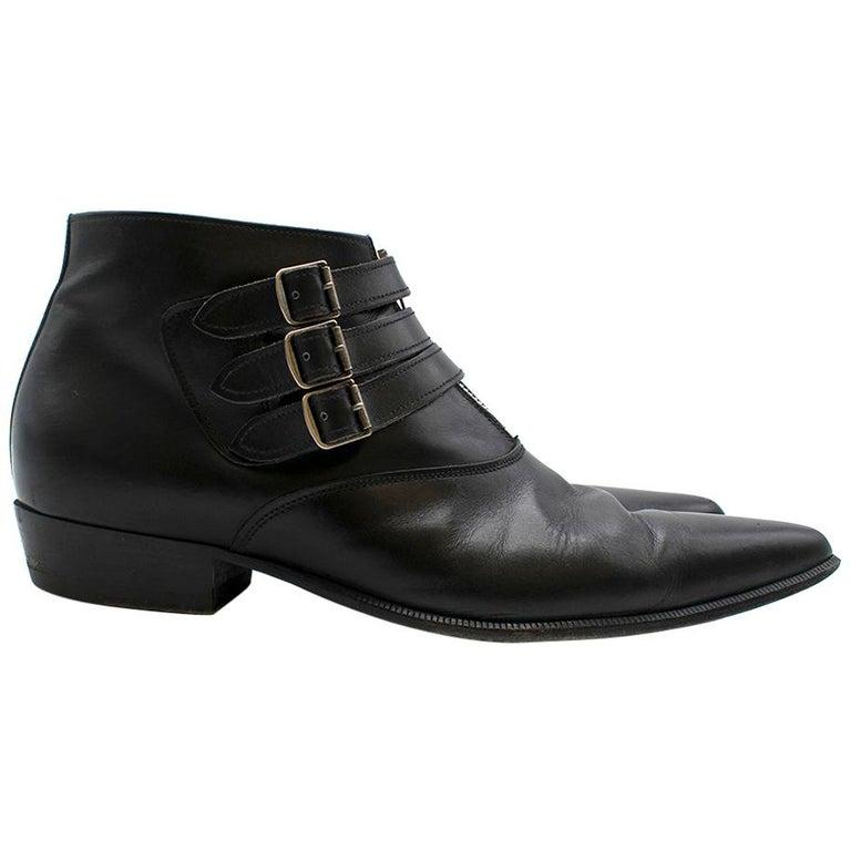 Saint Laurent Duckies 30 Triple Buckle Ankle Boot SIZE 42 For Sale