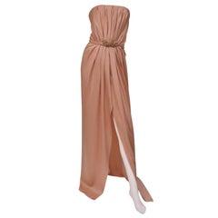 Saint Laurent Edition Soir Crystal Embellished Strapless Nude Long Silk Dress