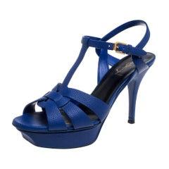 Saint Laurent Electric Blue Textured Leather Tribute Platform Sandals Size 38.5