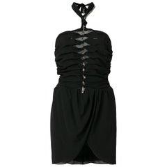Saint Laurent Embellished Ruched Halter Dress