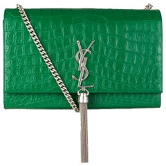 SAINT LAURENT emerald green KATE MEDIUM TASSEL EMBOSSED CROC Shoulder Bag
