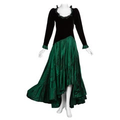Saint Laurent Emerald Green Velvet Silk Taffeta Ruffle Dress YSL, 1980s