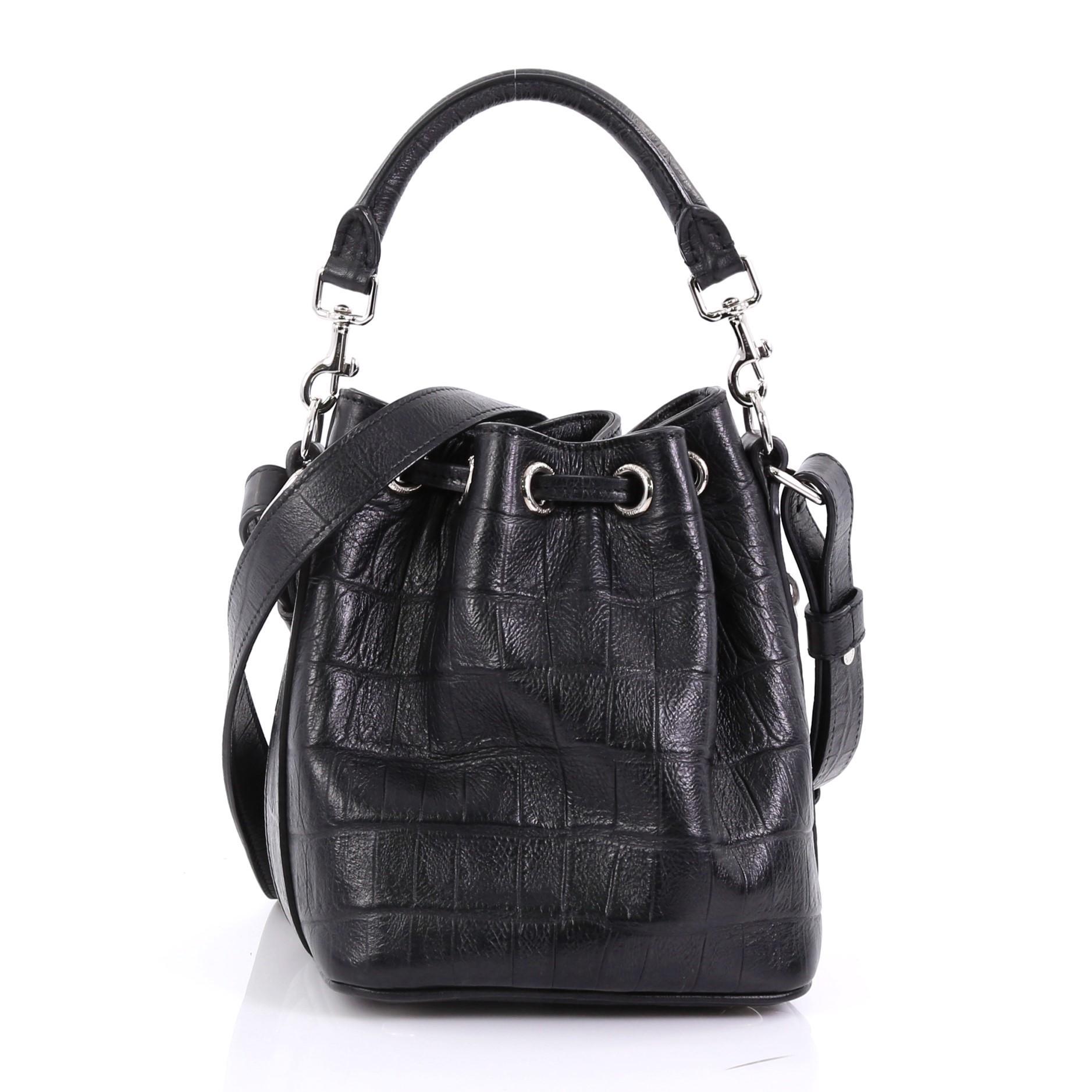 d6ac92e6ae9b Saint Laurent Emmanuelle Bucket Bag Crocodile Embossed Leather Small at  1stdibs