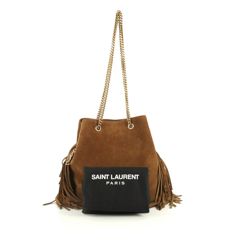 aee2cf683e Saint Laurent Emmanuelle Chain Bucket Bag Fringe Suede Small