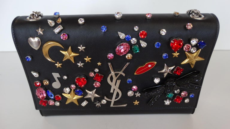 Saint Laurent F/W 16 Embellished Crossbody Clutch In Excellent Condition For Sale In Scottsdale, AZ