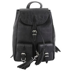 Saint Laurent Festival Backpack Crocodile Embossed Leather Small