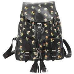 Saint Laurent Floral Print Leather Backpack