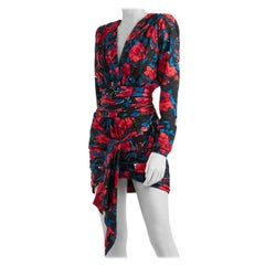 Saint Laurent Floral-print silk-jacquard mini dress M FR40