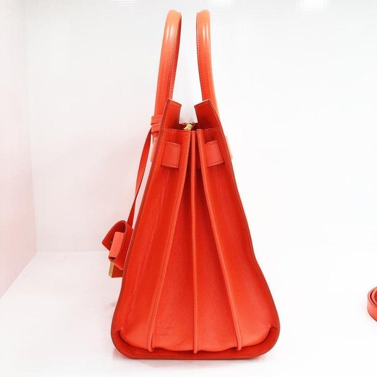 219fc9025cc4 Women s Saint Laurent Fluorescent Orange Leather Shoulder Bag For Sale