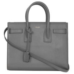 Saint Laurent Fog Grey Smooth Calfskin Small Sac De Jour Bag