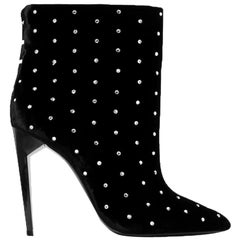 Saint Laurent Freja Studded Velvet Ankle Boots