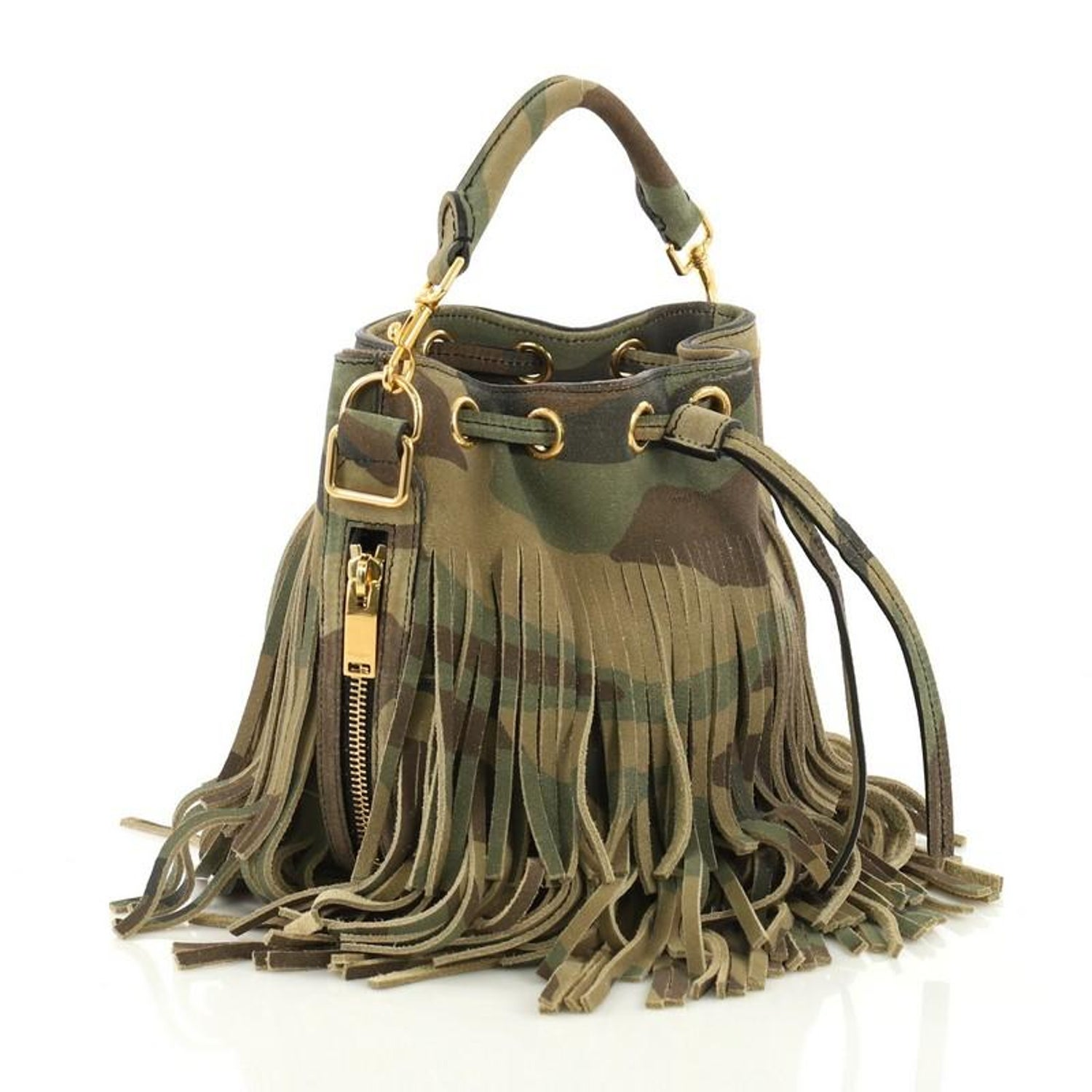 0b45b8939f Saint Laurent Fringe Emmanuelle Bucket Bag Printed Suede Small at 1stdibs
