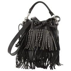 Saint Laurent Fringe Emmanuelle Bucket Bag Studded Leather Small