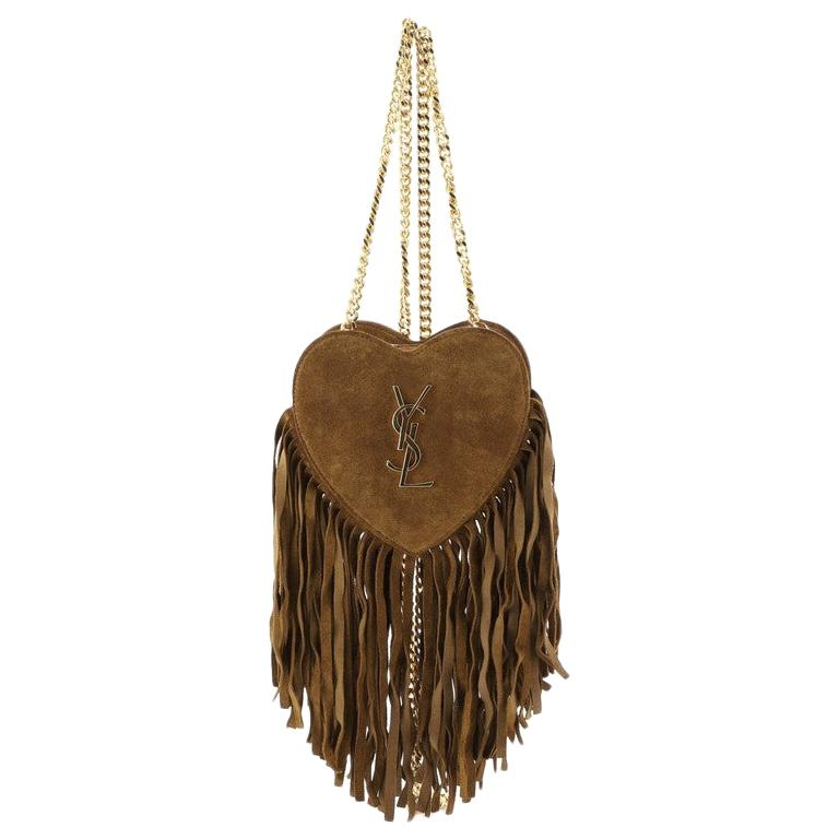 Saint Laurent Fringe Love Heart Chain Bag Suede Small At