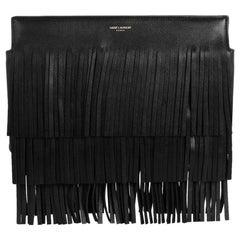 Saint Laurent Fringed Leather Clutch