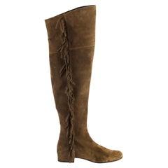 Saint Laurent Fringed Suede Over The Knee Boots EU 37.5 UK 4.5 US 7.5