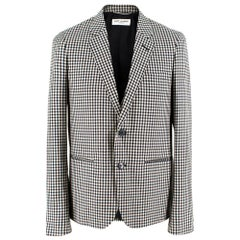 Saint Laurent Gingham Double Breasted Mohair Blend Blazer - Size XS EU 44