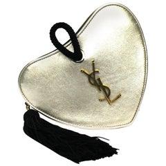 Saint Laurent Gold Leather Sac Coeur Bag