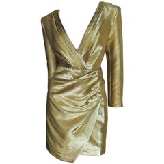 Saint Laurent Gold Plunge Dress