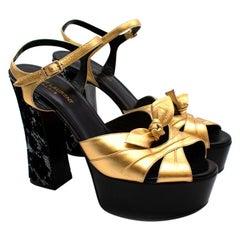 Saint Laurent Golden Leather & Sequins Platform Sandals - Size EU 39