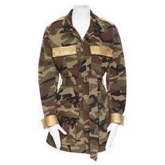 SAINT LAURENT green camouflage gold leather trimmed belted military jacket FR46